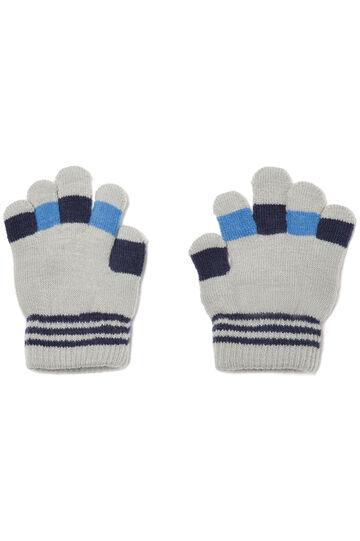 Gloves with contrasting details, Grey, hi-res