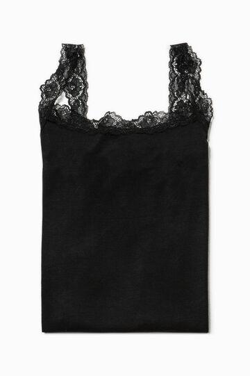 Solid colour vest top with lace, Black, hi-res