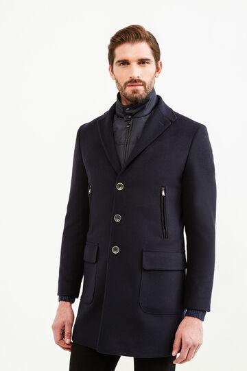 Abrigo regular fit con cuello con solapas, Azul, hi-res