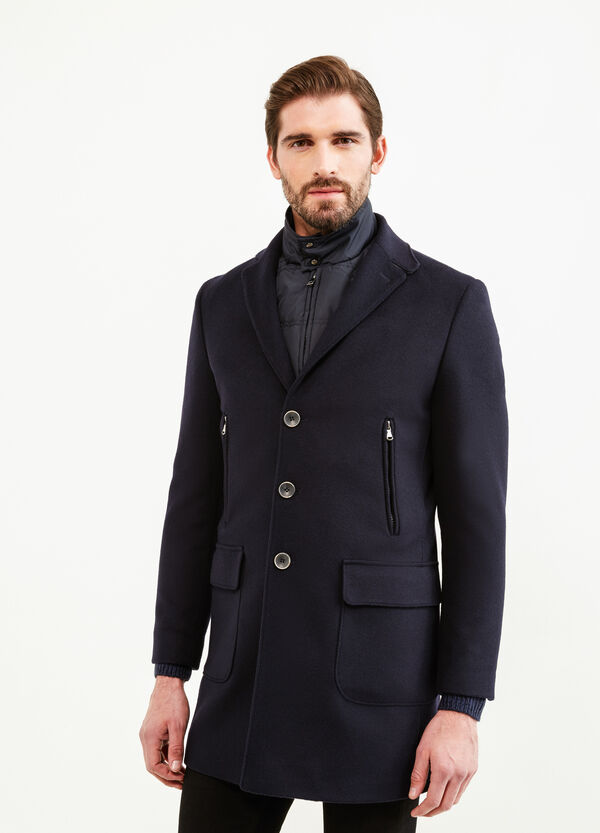 Regular-fit wool blend coat with lapels | OVS