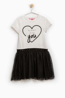 Stretch cotton dress with diamantés, White/Black, hi-res