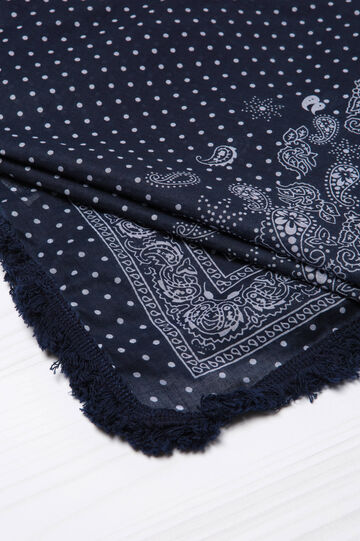 Patterned scarf in 100% cotton, Navy Blue, hi-res