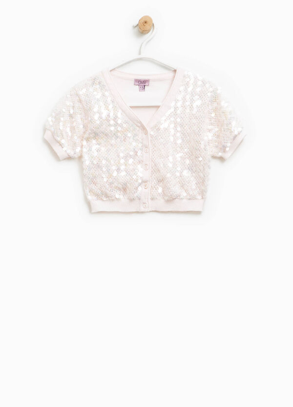 Shrug with short sleeves and sequins | OVS
