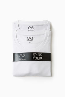 Two-pack 100% cotton undershirts, Optical White, hi-res
