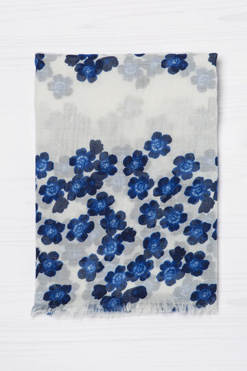 Floral print scarf, White/Blue, hi-res