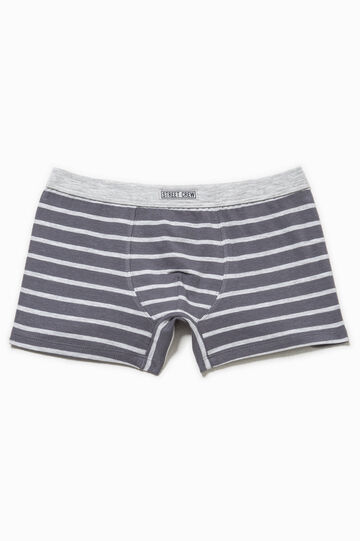 Striped stretch cotton boxers, Grey, hi-res