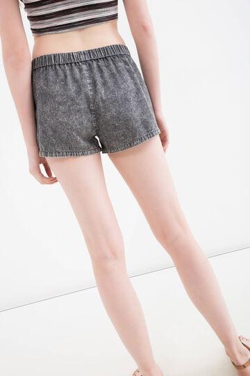 Regular fit denim shorts with mis-dyed effect, Black, hi-res