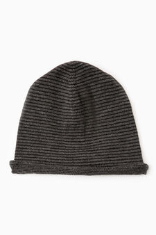 Solid colour knit beanie, Slate Grey, hi-res