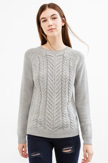 Pullover tricot a trecce tinta unita, Grigio, hi-res