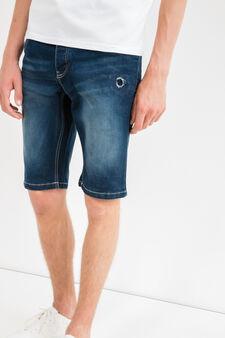 Bermuda di jeans slim fit used stretch, Lavaggio scuro, hi-res
