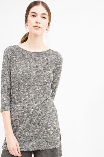 Long knitted pullover with slits, Black/White, hi-res