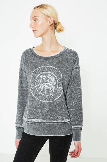 Cotton blend printed sweatshirt, Dark Grey, hi-res