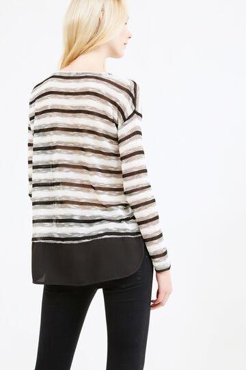 Viscose and lurex sweatshirt with striped pattern, Black, hi-res