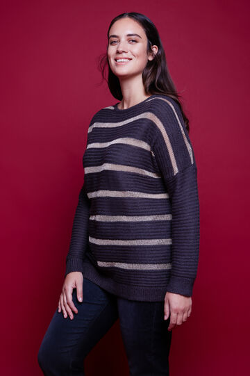 Curvy striped wool and lurex pullover, Grey, hi-res