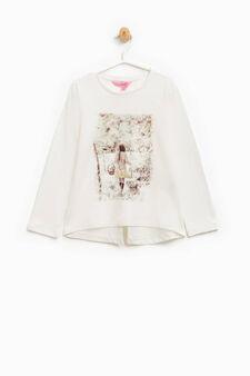 Cotton T-shirt with glitter print, Milky White, hi-res