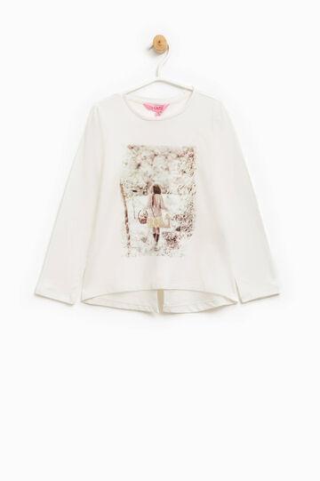 T-shirt cotone stampa glitterata, Bianco latte, hi-res