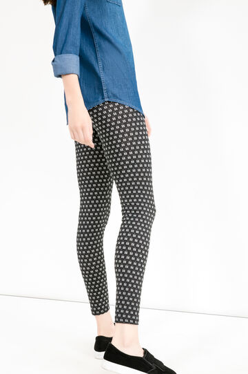 Printed leggings in stretch cotton, Black/White, hi-res