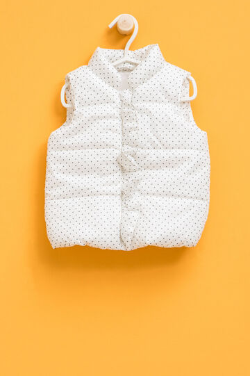 Padded patterned gilet with flounce, White/Grey, hi-res