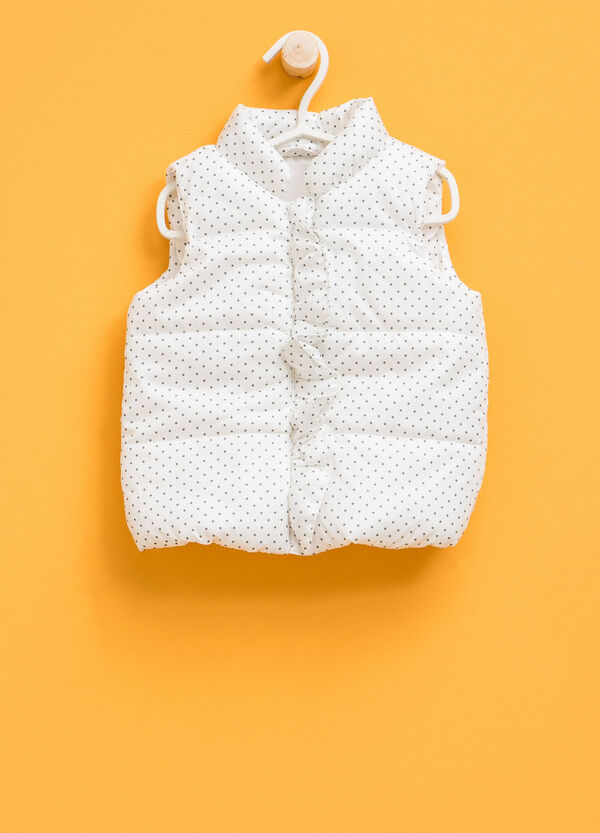 Padded patterned gilet with flounce | OVS