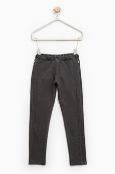 Solid colour 100% cotton jeggings, Smoke Grey, hi-res
