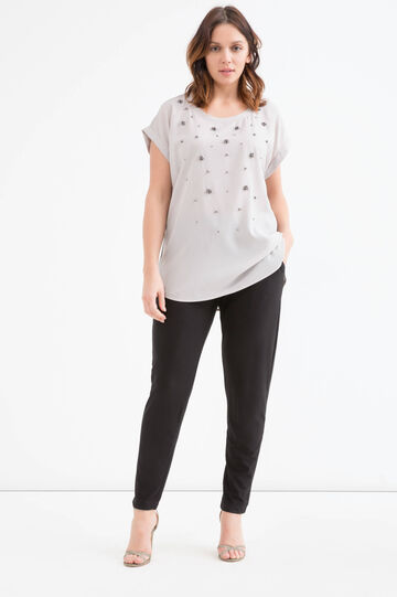 Curvy viscose T-shirt with diamanté appliqués, Chalk White, hi-res