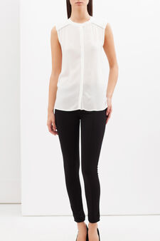 Sleeveless stretch blouse, Milky White, hi-res