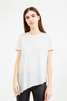 Raw-cut T-shirt with asymmetric hem, White, hi-res