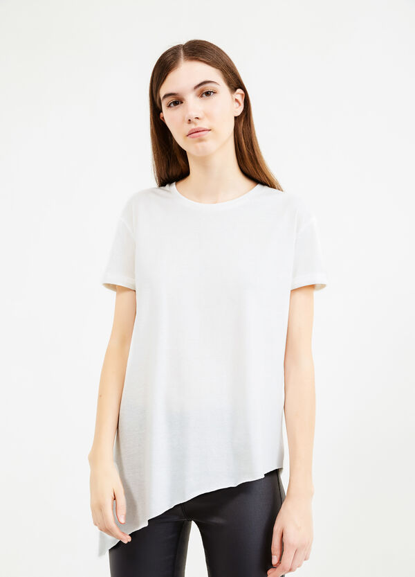 Raw-cut T-shirt with asymmetric hem | OVS