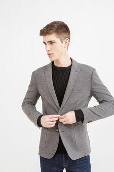 Elegant, two-button blazer in cotton, Brown, hi-res