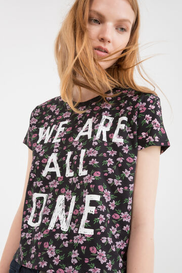 T-shirt puro cotone fantasia floreale, Nero, hi-res