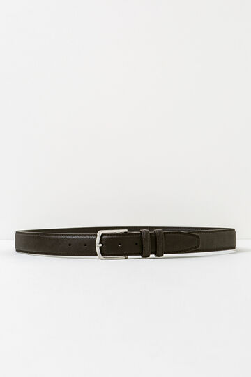Belt with double loop and shiny buckle, Dark Brown, hi-res