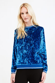 Chenille crew neck sweatshirt, Blue, hi-res