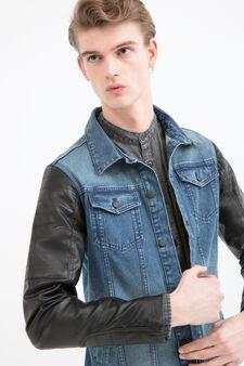 Denim and faux leather jacket, Denim, hi-res