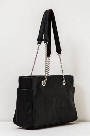 Crocodile print shoulder bag, Black, hi-res