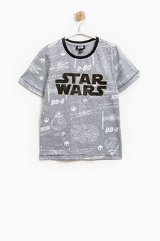 T-shirt with Star Wars print with glitter, Grey Marl, hi-res
