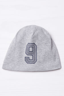 Printed beanie cap, Grey, hi-res