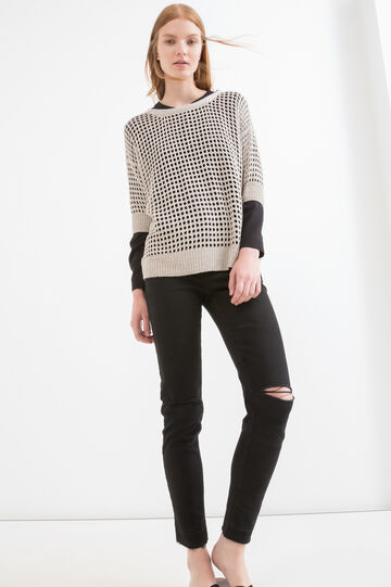 Solid colour openwork knit pullover, Beige, hi-res