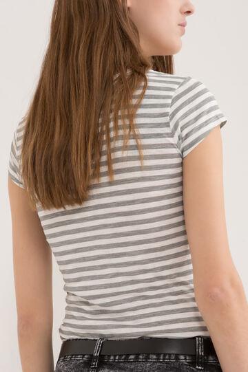 T-shirt puro cotone a righe, Grigio, hi-res