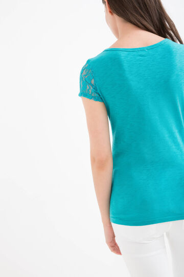 Solid colour T-shirt in 100% cotton, Emerald Green, hi-res
