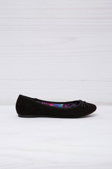 Suede-look ballerina flats with patterned inner, Black, hi-res