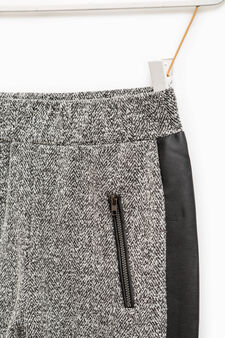 Trousers with contrasting side bands, White/Black, hi-res