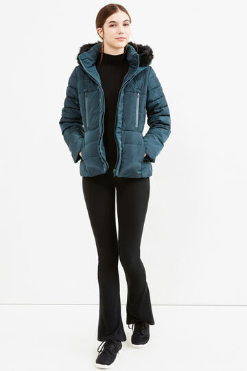 Down jacket with hood and fur, Forest Green, hi-res