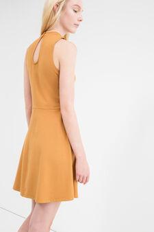 Short sleeveless stretch cotton dress, Ochre Yellow, hi-res