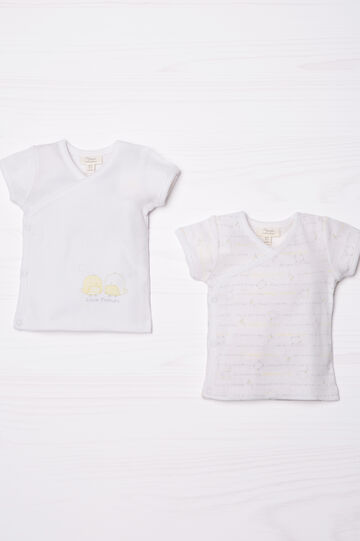 Set due t-shirt in puro cotone, Giallo, hi-res