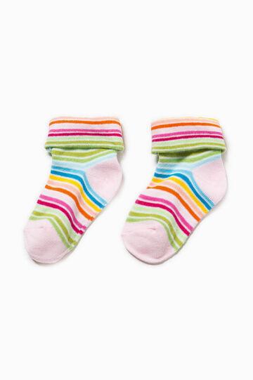 Calze corte in cotone stretch a righe, Multicolor, hi-res