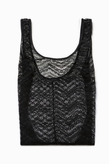Solid colour stretch lace bodysuit, Black, hi-res