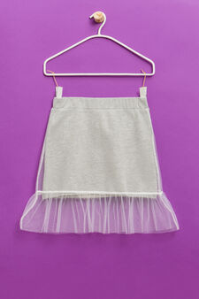 Cotton blend skirt with tulle, Light Grey, hi-res