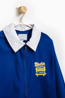 Smock with embroidery on chest, Royal Blue, hi-res