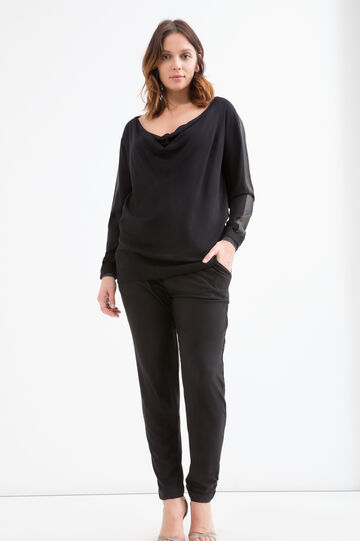 Curvy stretch viscose pullover, Black, hi-res