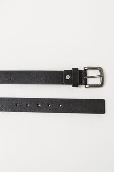 Textured belt with matt buckle, Black, hi-res